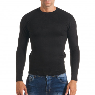 Мъжки черен изчистен пуловер с обло деколте it170816-40 2