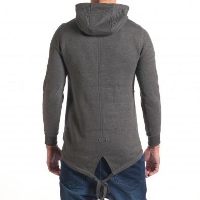 Мъжки сив удължен суичър с хоризонтални шевове it240816-51 3