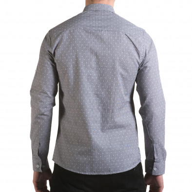 Мъжка сива риза на фини квадратчета с лого il170216-106 3