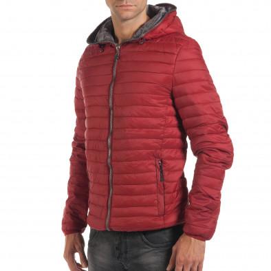 Мъжко червено пролетно-есенно яке с хоризонтални шевове it190616-12 4