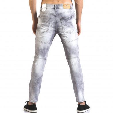 Мъжки сиви дънки със скъсвания и боя Justing 5