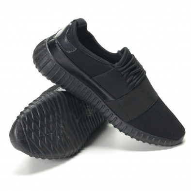 Мъжки черни текстилни маратонки с нисък профил it140916-1 4