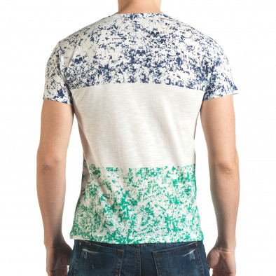 Бяла тениска със син и зелен принт Lagos 4