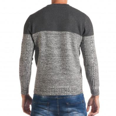 Мъжки сив зимен пуловер с релефна плетка it170816-31 3