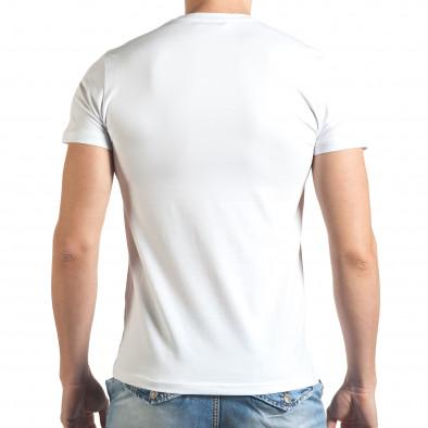 Бяла мъжка тениска с принт кецове tsf140416-71 3