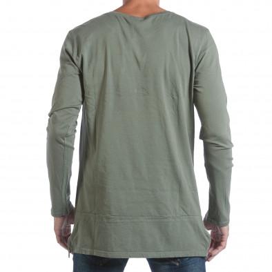Мъжка зелена блуза с ципове отстрани it160817-84 3
