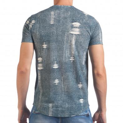 Мъжка синьо-бяла тениска с червен принт SAW 4