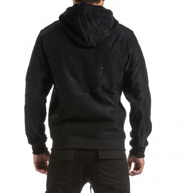 Жакардов черен суичър с цип син поларен хастар gr070921-48 3
