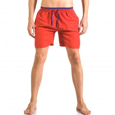 Мъжки червени бански шорти с връзки на кръста ca050416-27 2