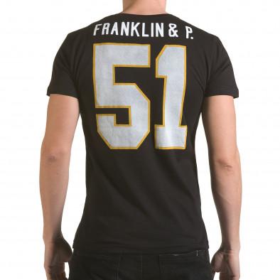 Мъжка черна тениска с кръгъл принт отпред Franklin 4