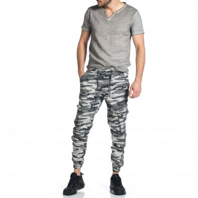 Мъжки карго панталон сив камуфлаж tr270421-4 4