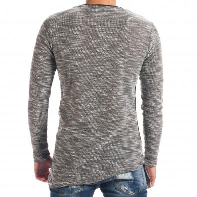 Мъжка светло сива блуза с черни части it180816-2 3