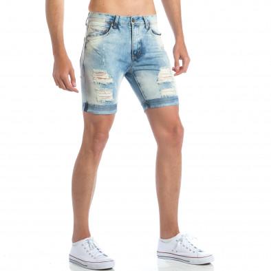 Мъжки светло сини дънки със скъсвания it190417-55 4