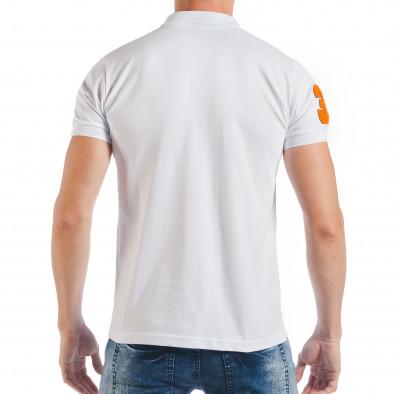 Бяла мъжка тениска тип поло шърт с номер 32 tsf250518-42 3