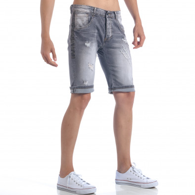 Мъжки сиви къси дънки с декоративни скъсвания it050617-32 4