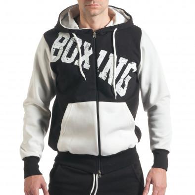 Мъжки черен суичър с надписи Boxing  it211116-111 2