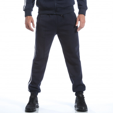 Мъжки син спортен комплект с бели ленти it160817-74 5