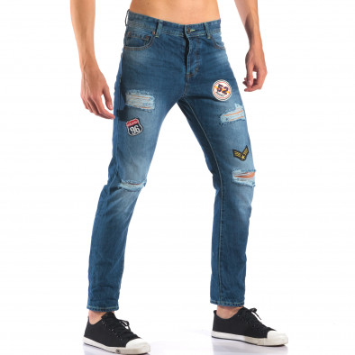 Мъжки дънки с емблеми и скъсвания it160616-28 4