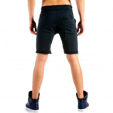Мъжки тъмно сини шорти с ланец на джоба it240415-32 3