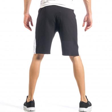 Мъжки черни шорти с бял кант it040518-52 4