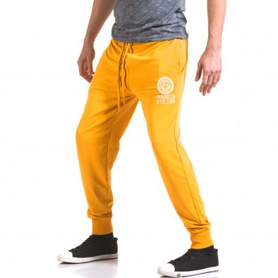 Мъжко жълто долнище с лого на единия крачол il170216-133 4