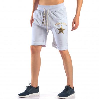 Мъжки бели шорти със златна звезда it160616-13 4
