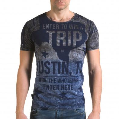 Мъжка синьо-сива тениска с надписи il120216-24 2