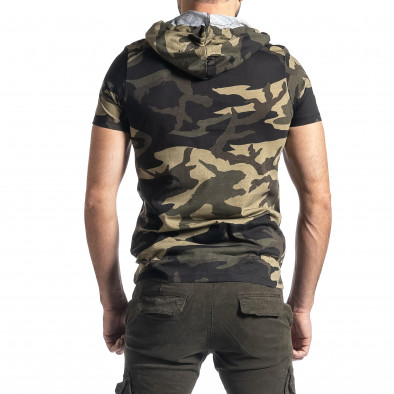 Мъжка тениска с качулка зелен камуфлаж tr010221-26 3