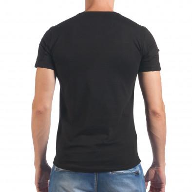 Мъжка черна тениска с декоративни скъсвания il060616-90 3
