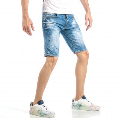 Slim fit мъжки къси дънки в синьо с цветни пръски it040518-77 4