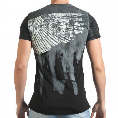 Мъжка черна тениска с як принт и странични ципове tsf140416-5 3