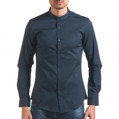 Синя мъжка риза с попска яка Akusawa 4