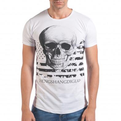 Мъжка бяла тениска с череп и знаме Eksi 4