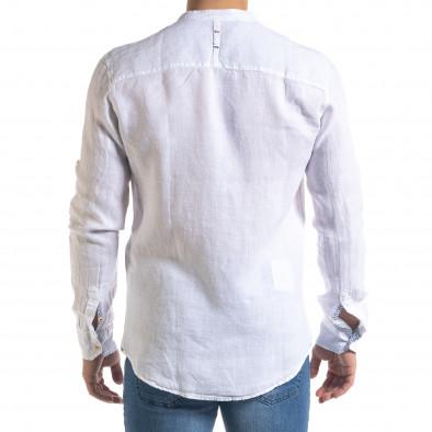 Мъжка бяла риза от лен с яка столче tr110320-90 4