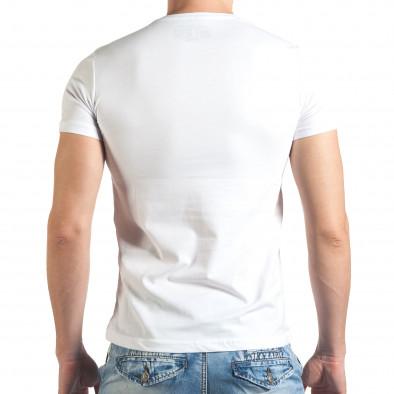 Мъжка бяла тениска с номер 3 и щампа il140416-35 3
