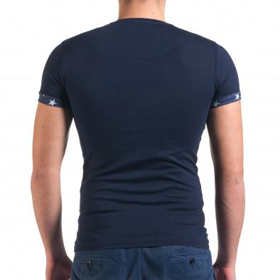 Мъжка синя тениска с джоб на гърдите със звезди il010416-2 3