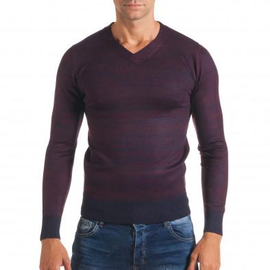 Мъжки лилав пуловер с остро деколте it170816-10 2