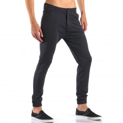 Мъжки синьо-сив панталон с еластични маншети на крачолите it160616-25 4