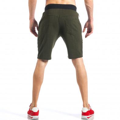 Зелени мъжки шорти с ципове на крачолите it110418-25 4