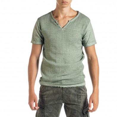 Мъжка тениска от памук и лен в зелено it010720-26 2