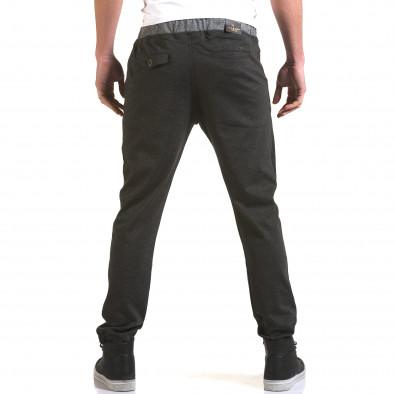 Мъжки тъмно сив панталон с контрастен ластик it090216-31 3