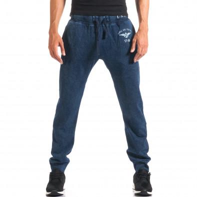 Мъжки сини потури с ефект на дънки и принт it160816-34 4