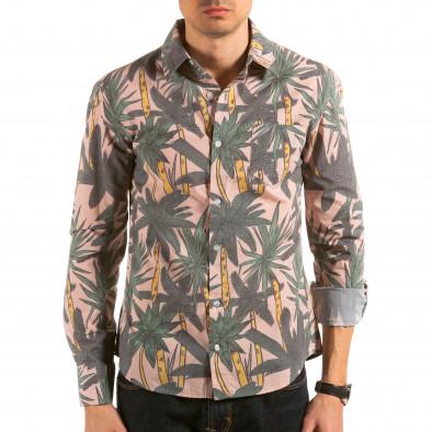 Мъжка бежова риза с принт палми il180215-187 2