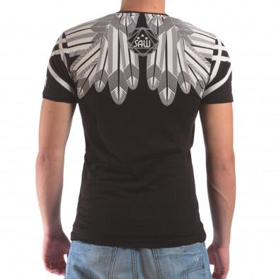 Мъжка черна тениска с тигър от камъни il210616-18 3