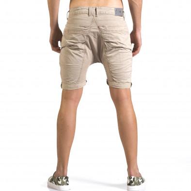 Мъжки бежови къси панталони със смъкнато дъно it110316-35 3