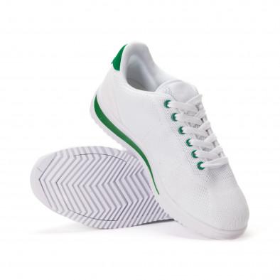 Леки мъжки маратонки от бял текстил със зелени акценти it020618-12 4