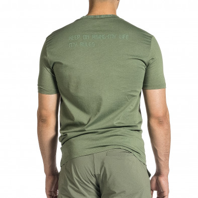 Мъжка зелена тениска с декорирано бие tr150521-8 3