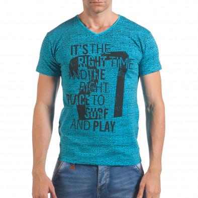 Мъжка синя тениска с надпис и номер 27 il060616-59 2