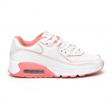 Дамски маратонки с въздушна камера бяло и розово it051219-11 2
