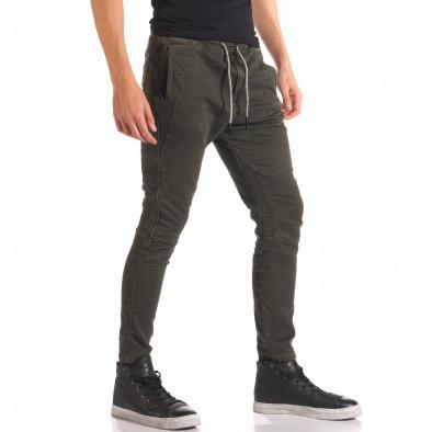 Мъжки зелен спортен панталон с допълнителни шевове it150816-10 4